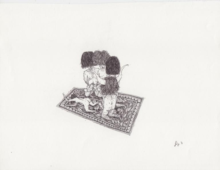 Gran cabeza gitana, 2013. Pilot-papel 17x22 cm
